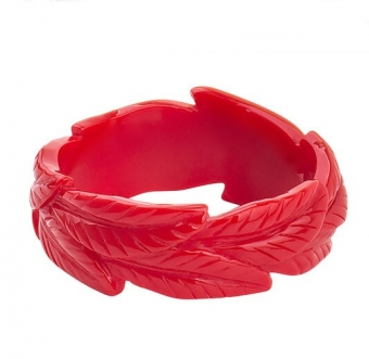 Cactula Red Carved Leaf Bangle / Armband