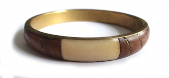 SUPERVINTAGE ARMBAND / BANGLE Wood / Ivory / Gold