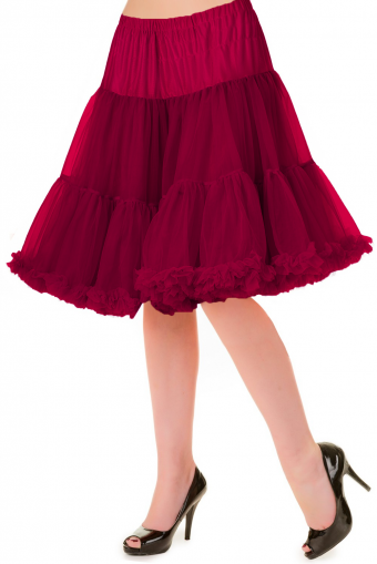 Banned Apparel bordeaux rood dubbellaags petticoat rok 50-55 cm