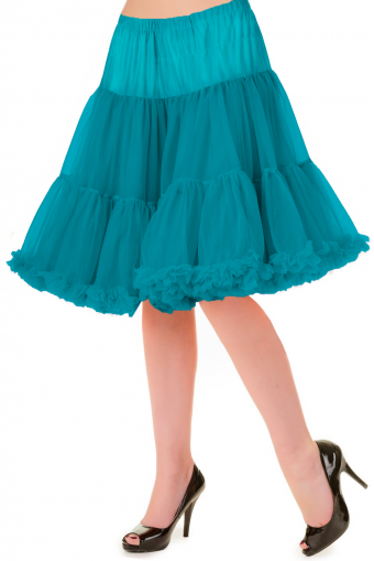 Banned Apparel teal dubbellaags petticoat rok 50-55 cm