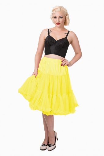 Banned Apparel geel pettioat rok lang model 65 cm