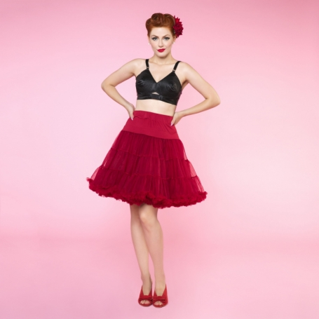 Dolly & Dotty Burgundy Red dubbellaags petticoat rok 50 - 55 cm