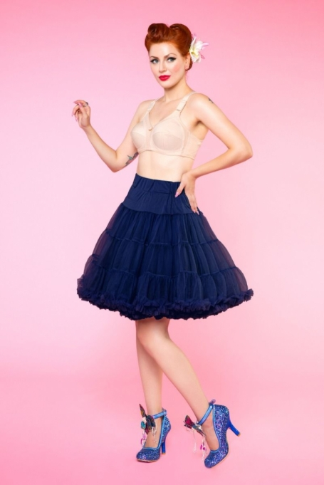 Dolly & Dotty Navy Blauwe dubbellaags petticoat rok