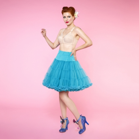 Dolly & Dotty Turquoise dubbellaags blue petticoat 50-55 cm