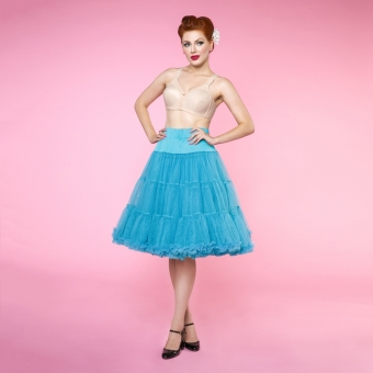 Dolly and Dotty turquoise lange petticoat rok 65 cm