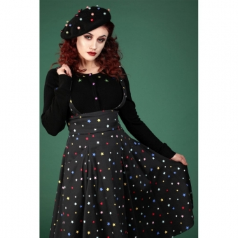COLLECTIF MAINLINE ALEXA RAINBOW STAR SWING SKIRT