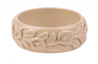 Cactula carved leaf cream bangle