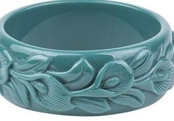 Cactula carved leaf teal bangle