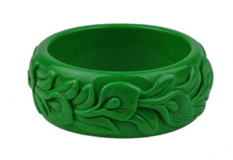 Cactula carved green bangle