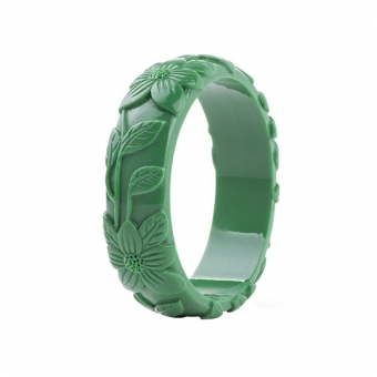 Cactula carved flower green bangle