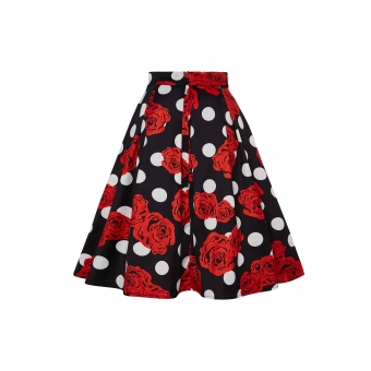 Dolly and Dotty Carolyn Box Pleat Scuba Knit Fabric Skirt Black, Roses & Polka