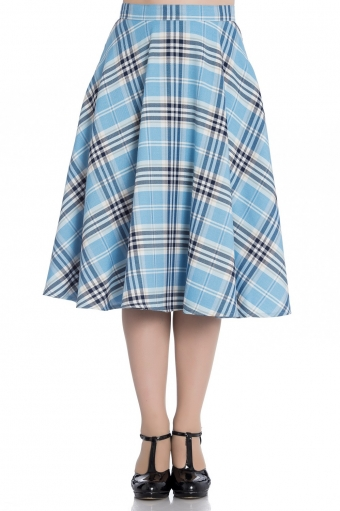 Hell Bunny Doralee blue check swing skirt