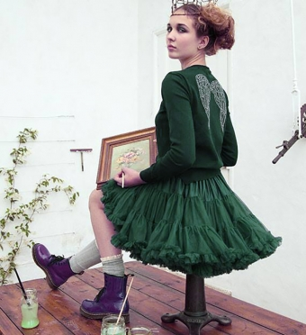 Dolly & Dotty Emerald Green dubbellaags petticoat rok 50 - 55 cm