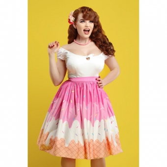 COLLECTIF MAINLINE JASMINE ICECREAM SWING SKIRT