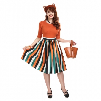 COLLECTIF MAINLINE JASMINE PUMPKIN STRIPE SWING SKIRT
