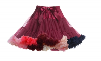 Banned Apparel bordeaux rode regenboog petticoat rok