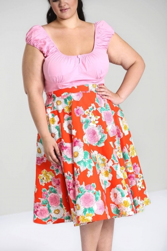 Hell Bunny Orange flower Marguerita 50's skirt