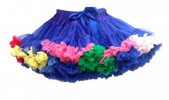 Banned Apparel kobalt blue rainbow petticoat rok