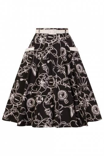 Hell Bunny black Mistral nautical swing skirt