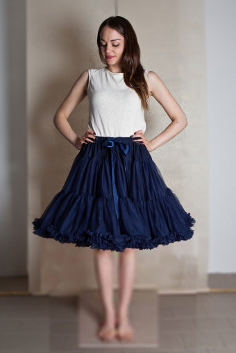 Dolly and Dotty 4 laags navy blauwe petticoat rok