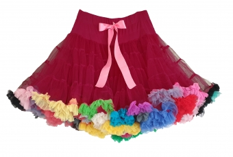 Dolly and Dotty burgundy EXTRA DIKKE petticoat regenboog rok 55-60 cm