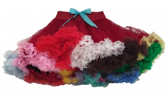 Dolly and Dotty Bordeaux rode regenboog petticoat 60 cm