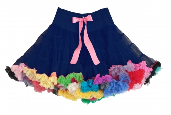 Dolly and Dotty navy blauw EXTRA DIKKE petticoat regenboog rok 55-60 cm