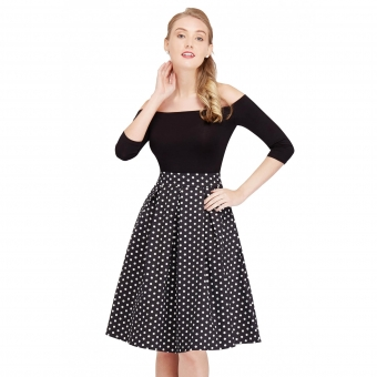 Dolly and Dotty Rochelle High Waist Full Circle Polka Dot Skirt in Black/White