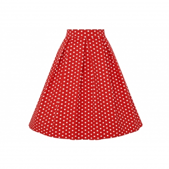 Dolly and Dotty Rochelle High Waist Full Circle Polka Dot Skirt in Red/White