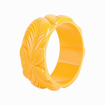 Cactula Carved Flora Leaf Bangle yellow