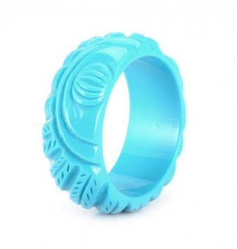 Cactula brede turquoise uitgesneden bangle