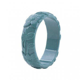 Cactula carved leaf teal green bangle