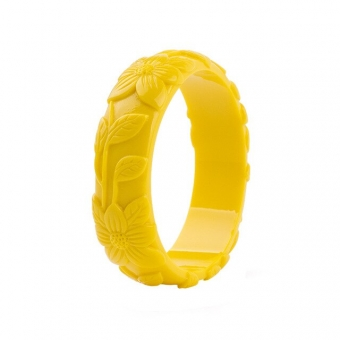 Cactula carved yellow leaf flower bangle
