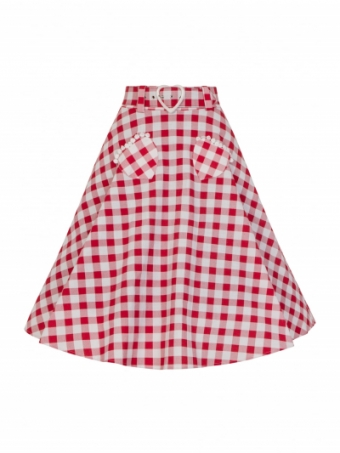 Collectif red gingham Violetta Skirt
