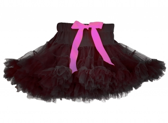 Dolly and Dotty zwarte petticoat kort model 35 cm roze lint
